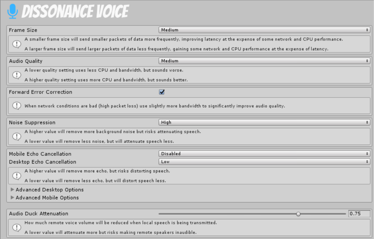 Voice Settings - Dissonance: Unity Voice Chat